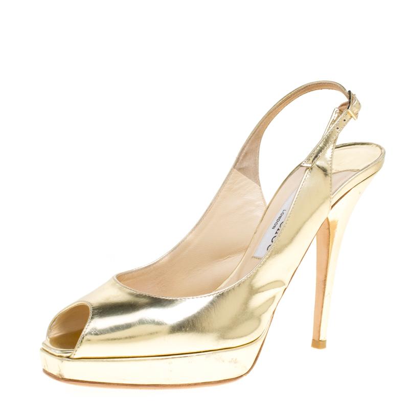 5ded0075dbd Buy Jimmy Choo Metallic Gold Leather Clue Peep Toe Slingback Sandals ...