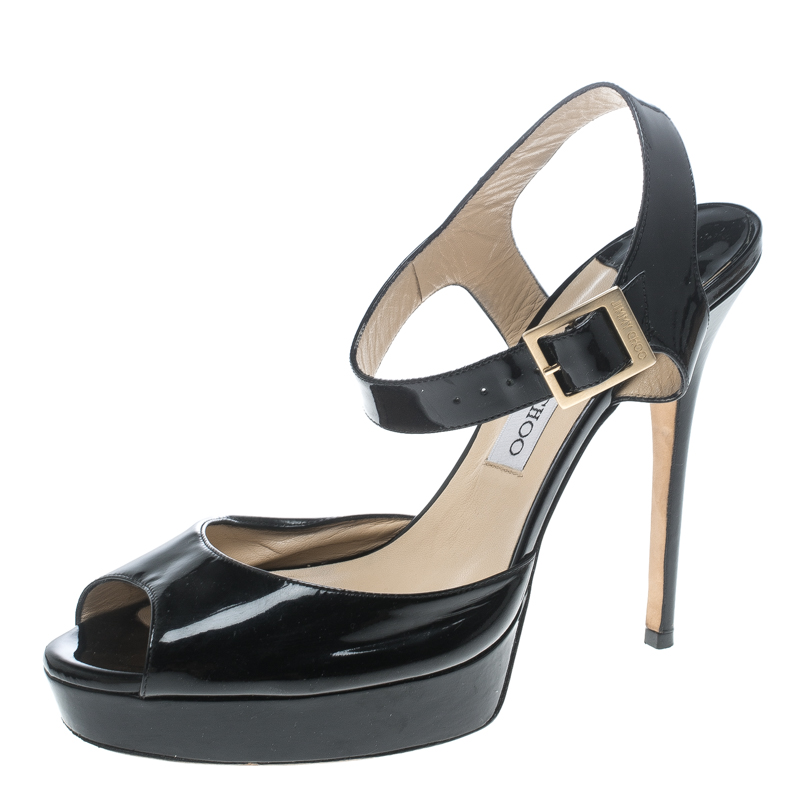 b76d11682d1 Jimmy Choo Black Patent Leather Linda Ankle Strap Sandals Size 42