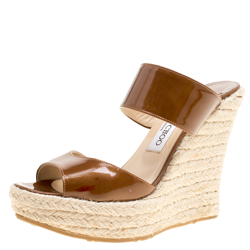 8d95ecc61847 Buy Jimmy Choo Brown Patent Leather Espadrille Wedge Slides Size 38 154923  at best price