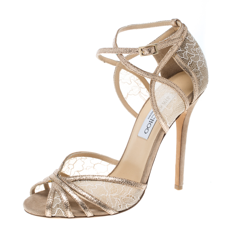 caba10ce0c6 Buy Jimmy Choo Metallic Gold Glitter and Lace Fitch Ankle Strap ...