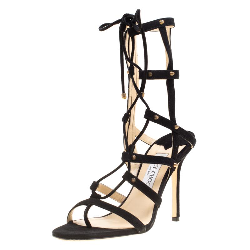 13b631ff34b ... Jimmy Choo Black Suede Meddle Lace Up Gladiator Sandals Size 39.5.  nextprev. prevnext