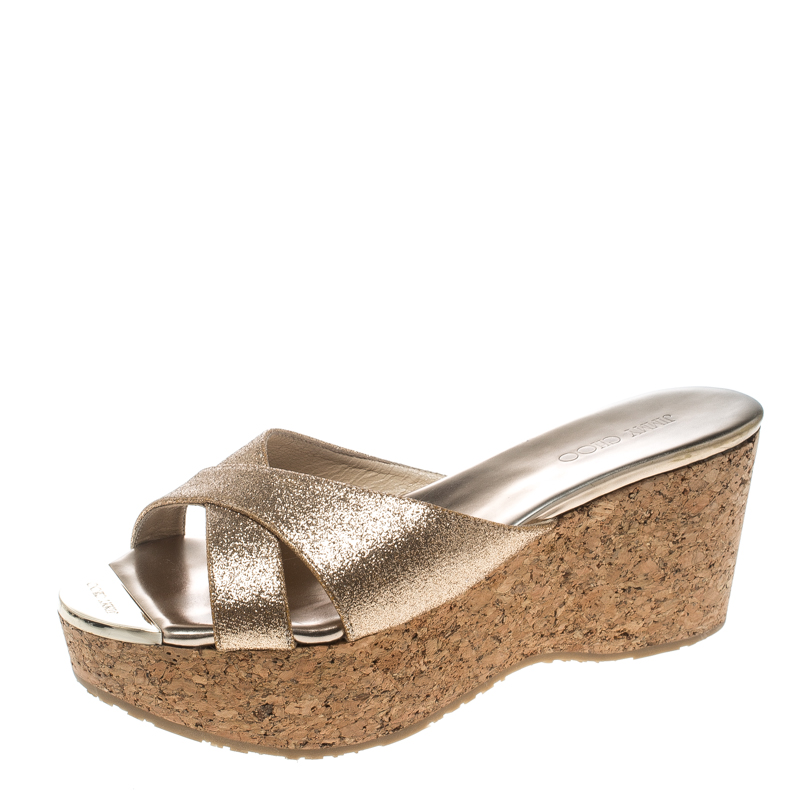 b97ae48a6338 ... Jimmy Choo Gold Glitter Fabric Prima Cork Wedge Slides Size 38.5.  nextprev. prevnext