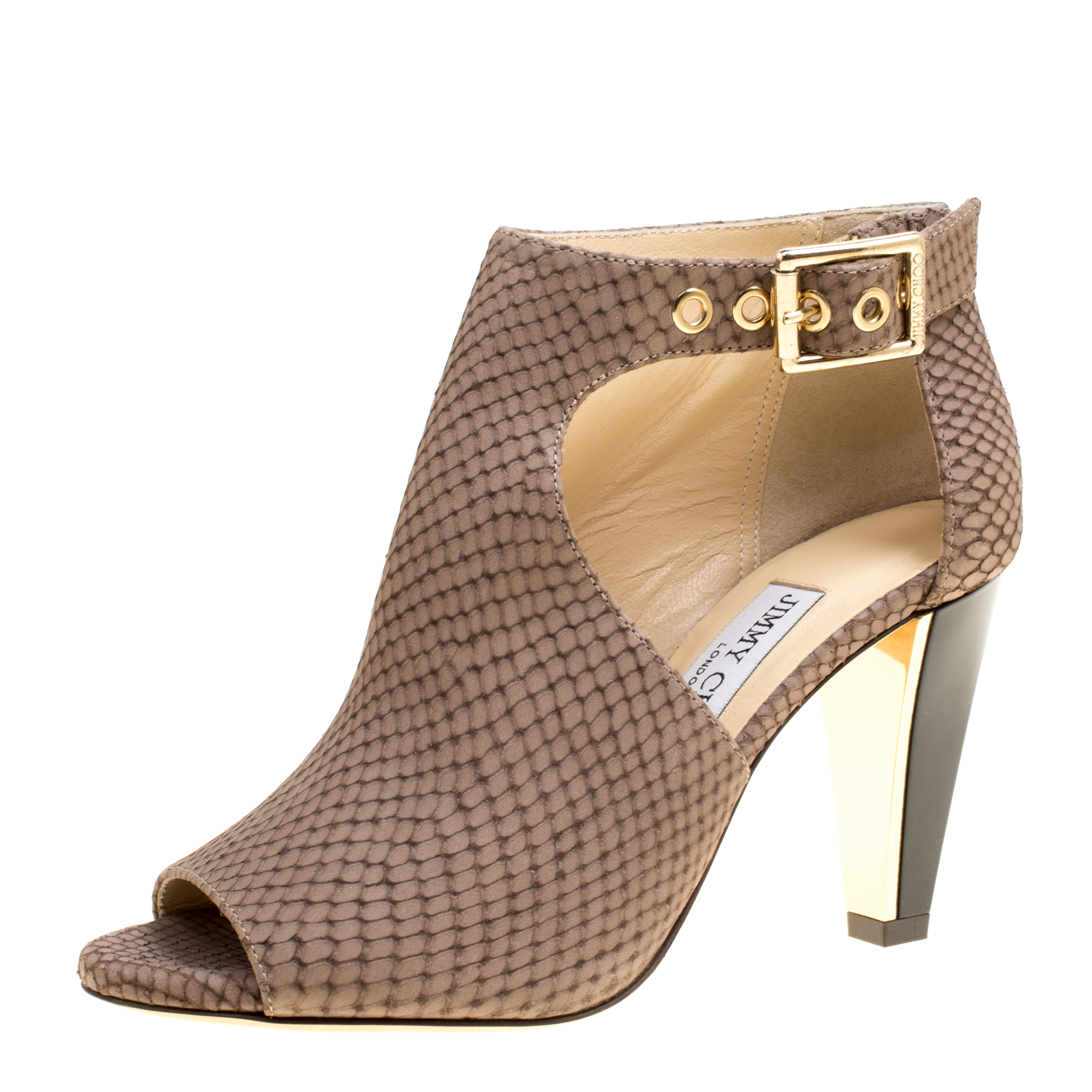 8c2e374d4ea4 Buy Jimmy Choo Light Brown Snake Embossed Leather Peep Toe Booties Size  35.5 161800 at best price