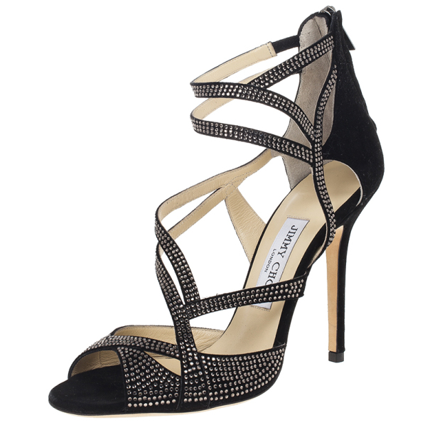 Diamante Embellished Suede Sandals