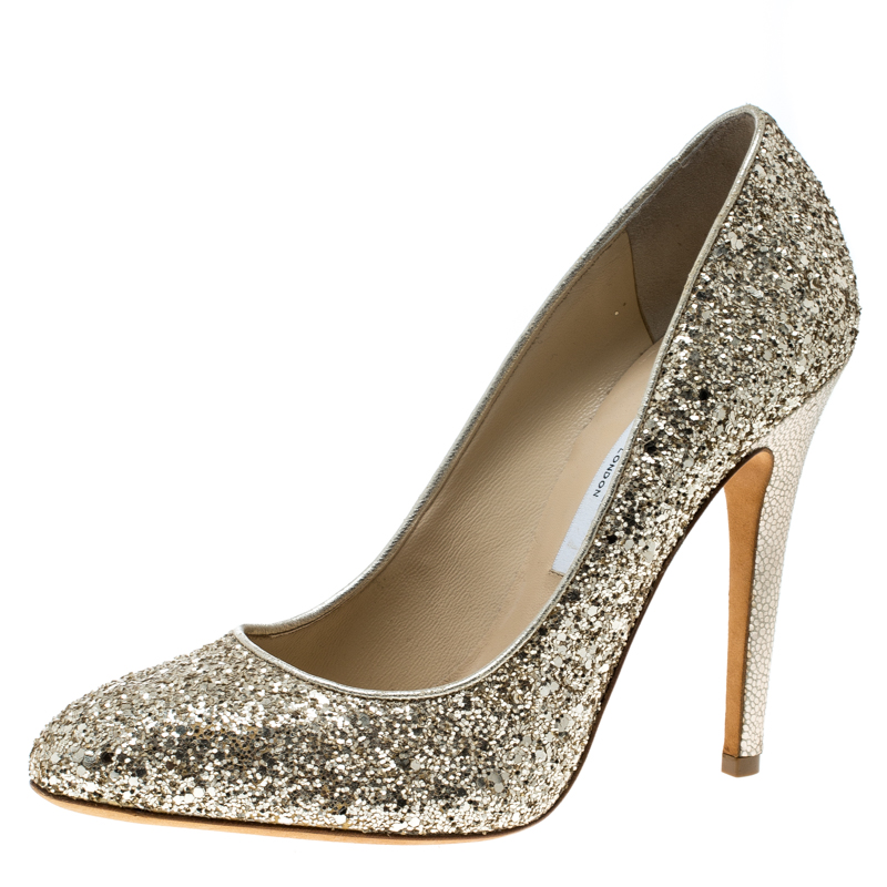ff936a702c00 Buy Jimmy Choo Metallic Gold Coarse Glitter Victoria Pumps Size 39 ...