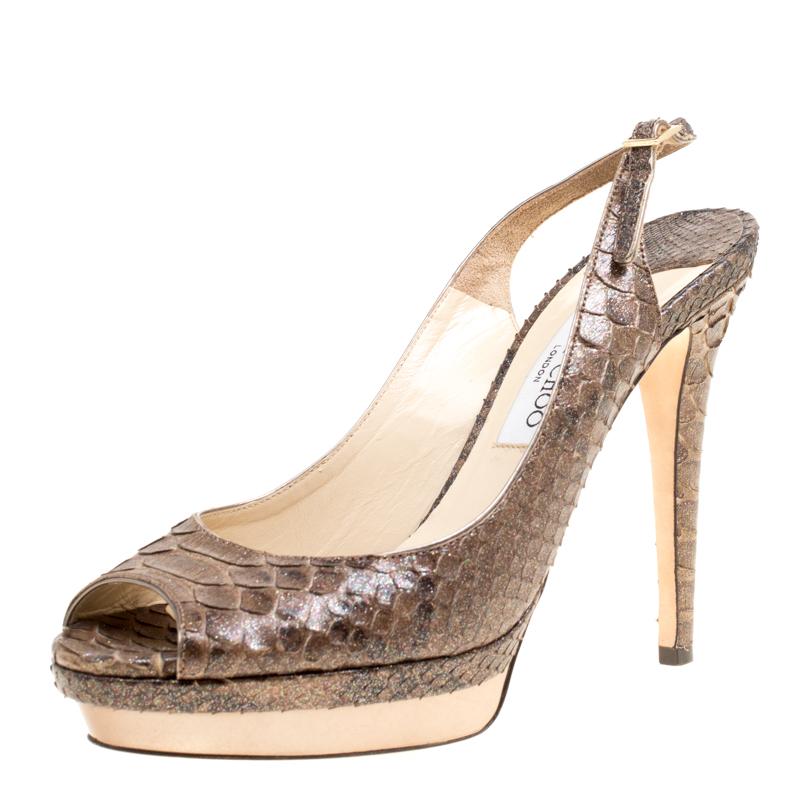 be015eeae53767 Buy Jimmy Choo Brown Glitter Effect Python Leather Peep Toe ...