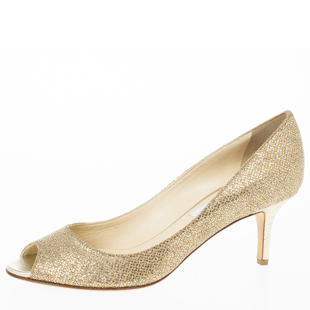 da2459067960 Buy Jimmy Choo Gold Glitter Leather  Isabel  Peep Toe Pumps Size 38 ...