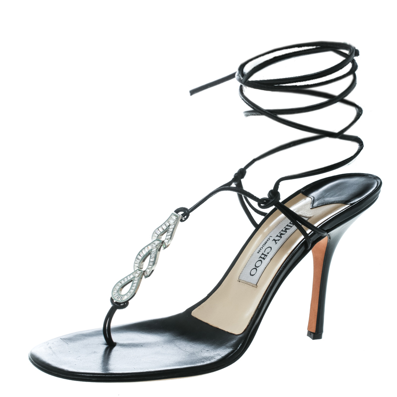 65f44a1c7fc ... Jimmy Choo Black Leather Crystal Studded Ankle Wrap Thong Sandals Size  40. nextprev. prevnext