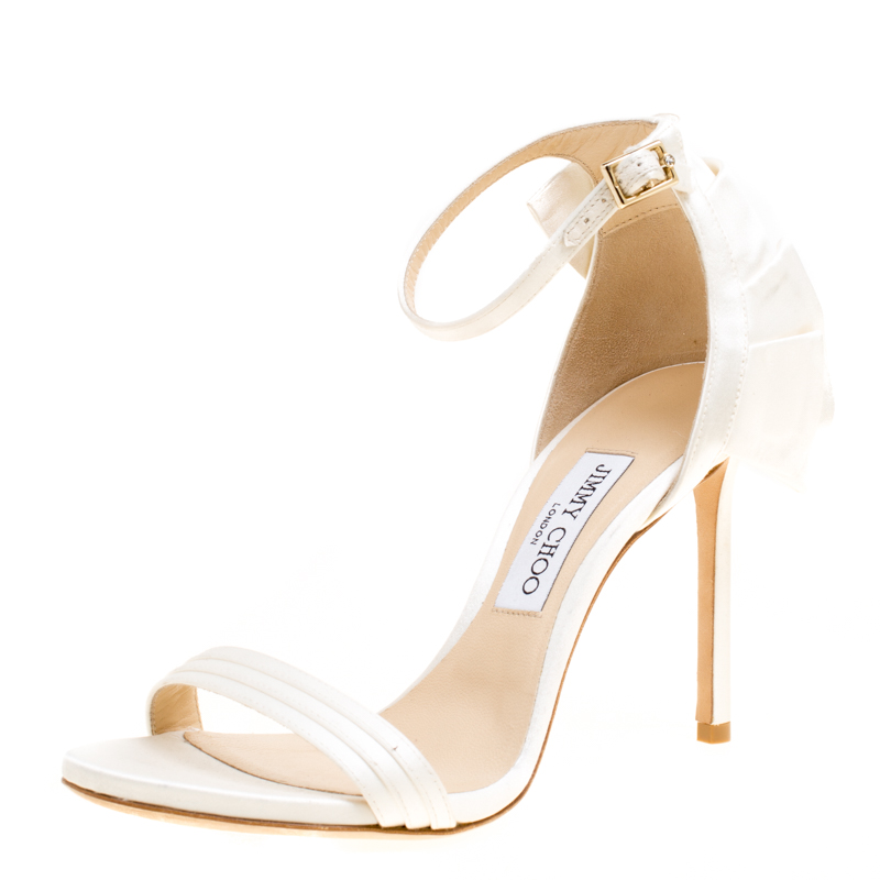 5e26a484079 Buy Jimmy Choo Ivory Satin Kerry Ankle Strap Open Toe Sandals Size ...