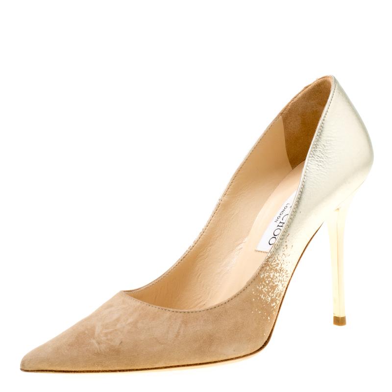 5fef4a124a896 ... Jimmy Choo Beige Suede and Gold Dégradé Decollete Pointed Toe Pumps  Size 35. nextprev. prevnext