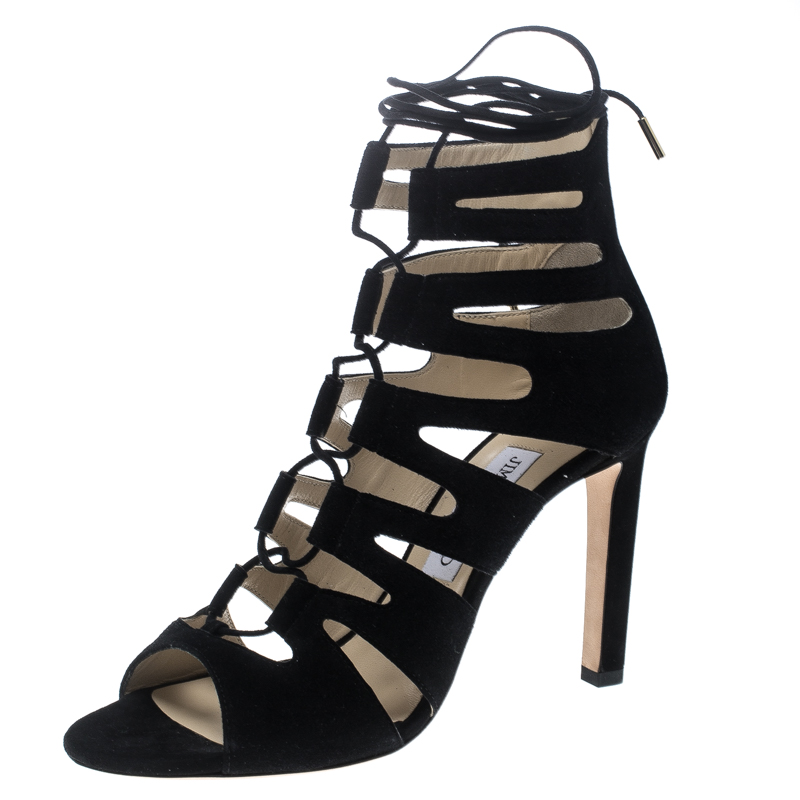 Jimmy Choo Black Suede Hitch Cut Out