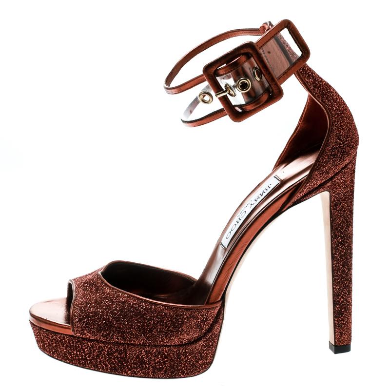Jimmy Choo Pop Orange Lamè Fabric and PVC Mayner Peep Toe Ankle Cuff Sandals Size 40.5