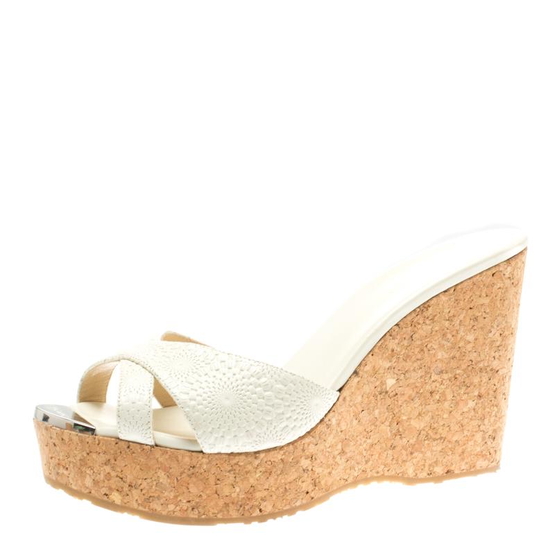 3d1b080d0559 ... White Textured Leather Prima Cork Wedge Sandals Size 40.5. nextprev.  prevnext