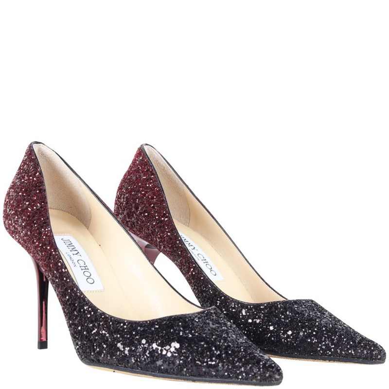 Jimmy Choo Ombre Glitter Pointed Toe Pompes De Taille 37.5