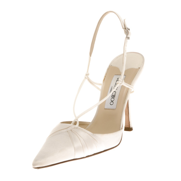 3c56212e14e ... Jimmy Choo White Satin Pointed Toe Slingback Sandals Size 39. nextprev.  prevnext