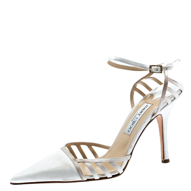 5d21fc23be8 ... Jimmy Choo White Satin Pointed Toe Slingback Sandals 38. nextprev.  prevnext