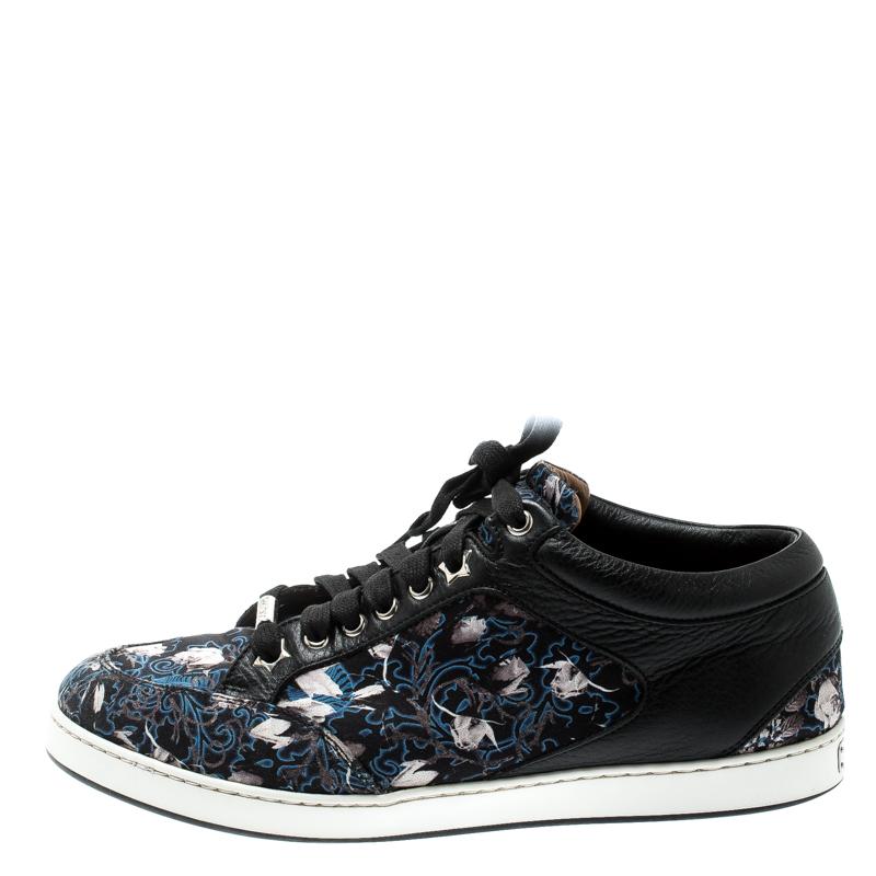 Jimmy Choo Imprimé Floral Satin Et Cuir Miami Low Top Sneakers Taille 39