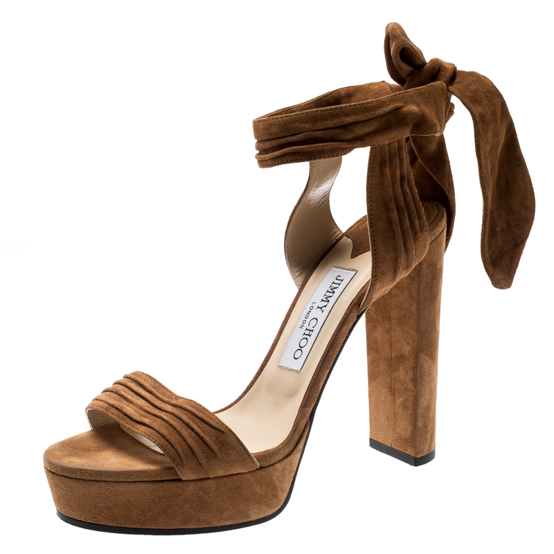 Jimmy Choo Brown Pleated Suede Kaytrin Ankle Wrap Platform Sandals Size 38