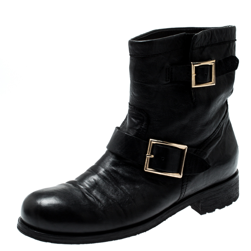 9fbd2e285df Jimmy Choo Black Leather Youth Biker Ankle Boots Size 40
