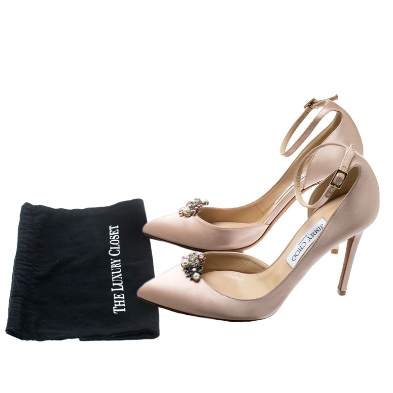 Jimmy Choo Beige Satin Rosa Ankle Strap Pointed Toe D'orsay Pumps Size 39