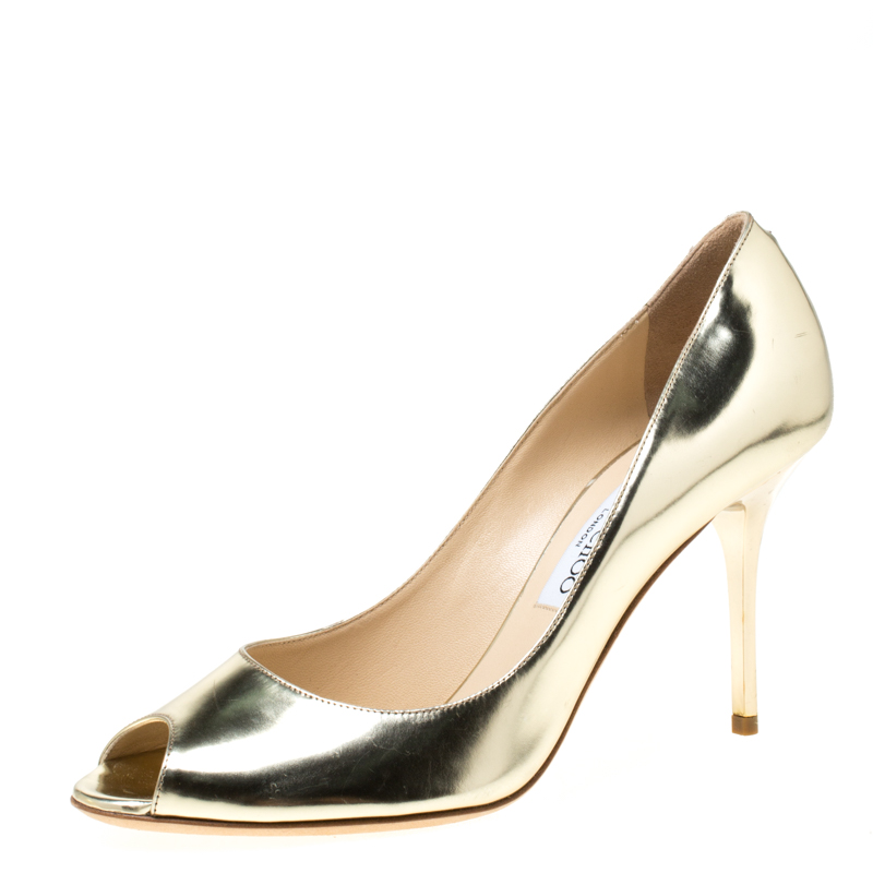 Jimmy Choo Metallic Gold Leather Evelyn Peep Toe Pumps Size 39