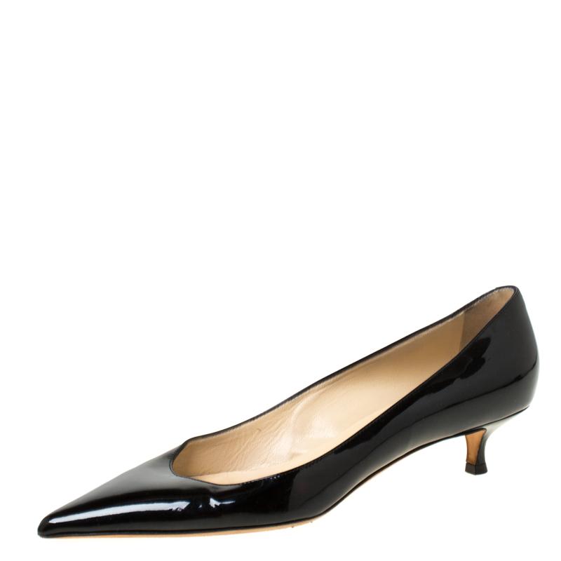 best sell hot sale online aliexpress Jimmy Choo Black Patent Leather Aza Kitten Heel Pumps Size 38 ...