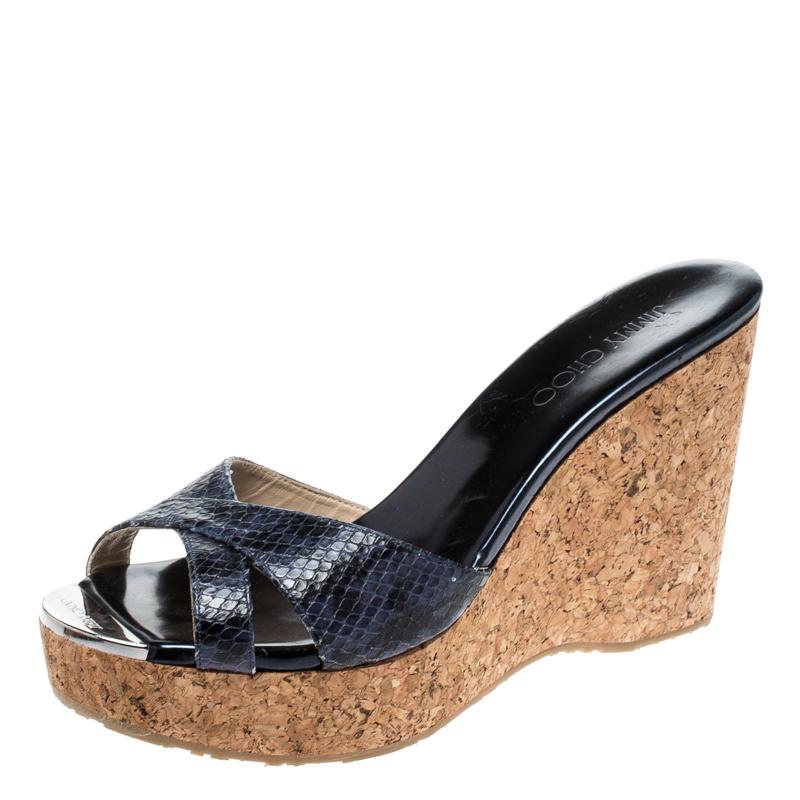 Jimmy Choo Metallic Blue Python Embossed Leather Prima Cork Wedge Sandals Size 40