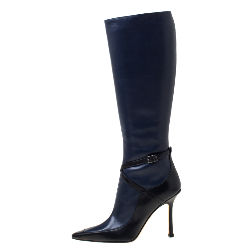 Jimmy Choo Navy BueBlack Leather Zipped Knee Length Boots Size 37