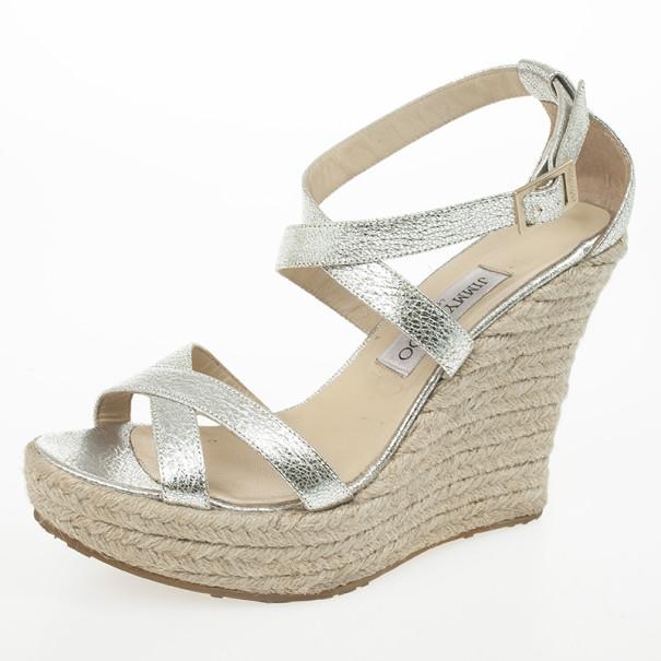 331d39a9e46d ... Jimmy Choo Silver Glitter Porto Espadrilles Wedge Sandals Size 40.  nextprev. prevnext