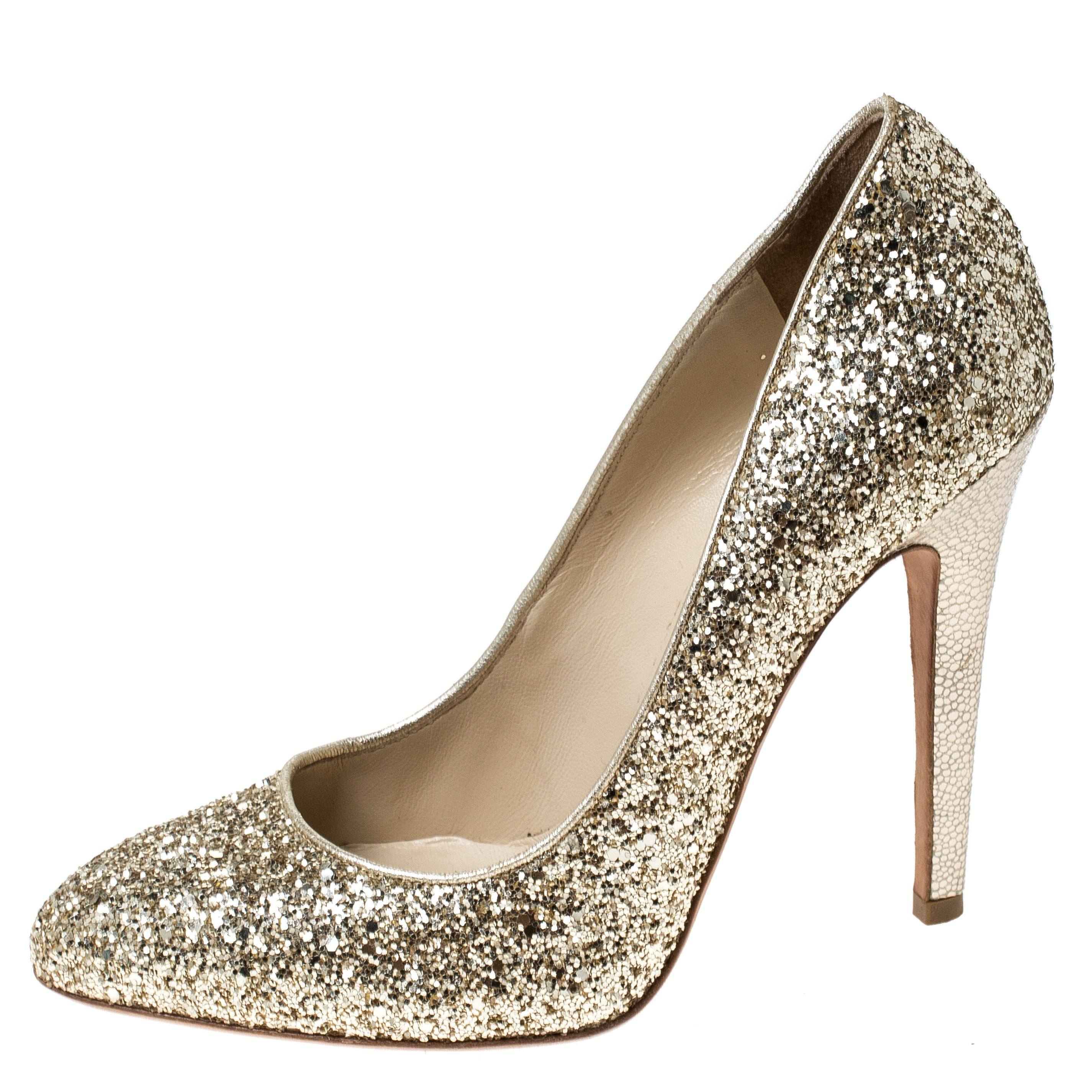 Jimmy Choo Or Métallique Glitter Pompes Victoria Taille 38.5