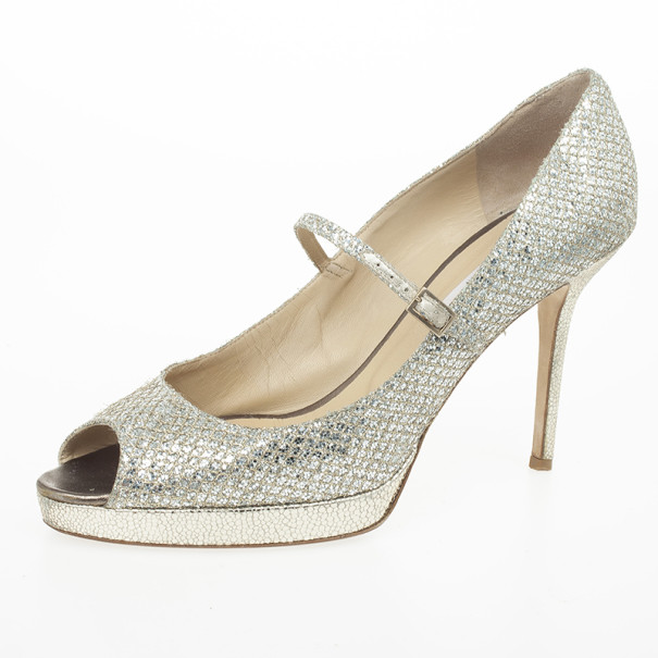 0bc78b82989b Buy Jimmy Choo Gold Glitter Mary Jane Peep Toe Pumps Size 40 23971 ...