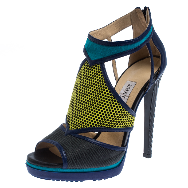 Jimmy Choo Multicolor Leather Lythe Honeycomb Platform Sandals Size 37