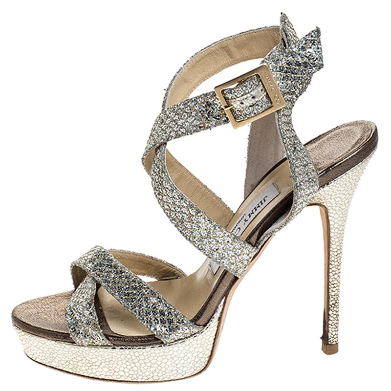 Jimmy Choo Champagne Gold Glitter Fabric Vamp Platform Sandals Size 38