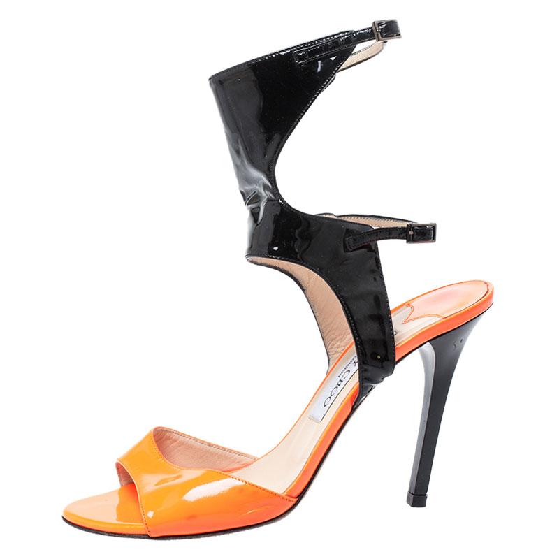 Jimmy Choo Orange Néon Et Du Cuir Verni Noir Boucle De Bracelet De Cheville Open Toe Sandales Taille 38