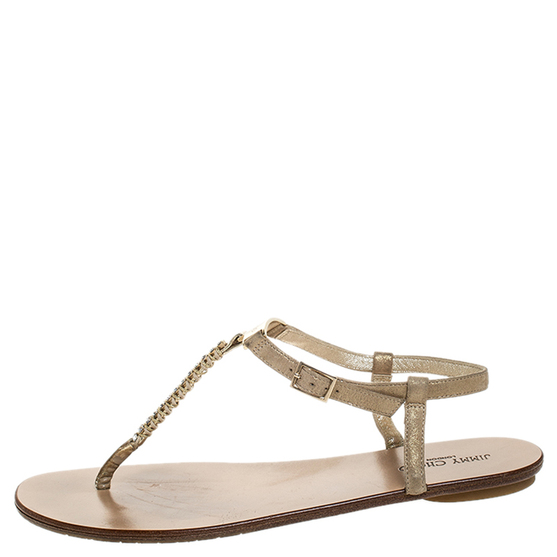 Jimmy Choo Metallic Or Suede Nox Crystal T Sangle Thong Sandales Plates De Taille 39.5
