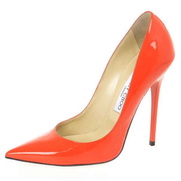 8ea3f07e3c47 Buy Jimmy Choo Orange Patent Anouk Pointed Toe Pumps Size 37 25730 ...