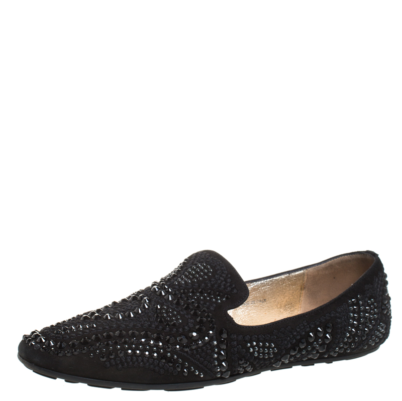 Jimmy Choo Slippers BLACK SUEDE CRYSTAL EMBELLISHED WHEEL SMOKING SLIPPERS SIZE 38