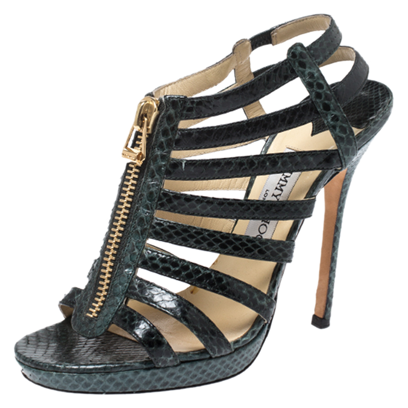 Jimmy Choo Green/Black Python Glenys Gladiator Platform Sandals Size 37.5