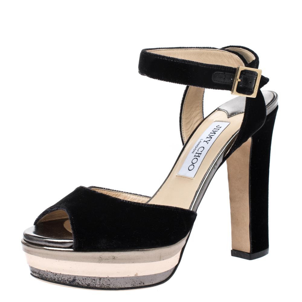 Jimmy Choo Black Velvet Ankle Strap Platform Block Heel Sandals Size 38