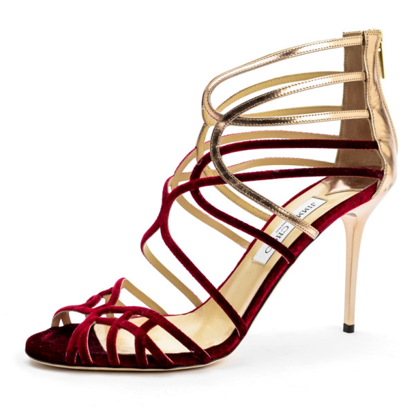 f5d117b4c89 Buy Jimmy Choo Red Velvet  amp  Gold Leather  Maury  Strappy Sandals ...