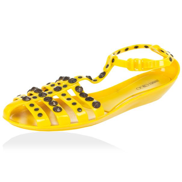 2eaddf061c8 Buy Jimmy Choo Yellow Studded Rubber Gladiator Sandals Size 41 28570 ...