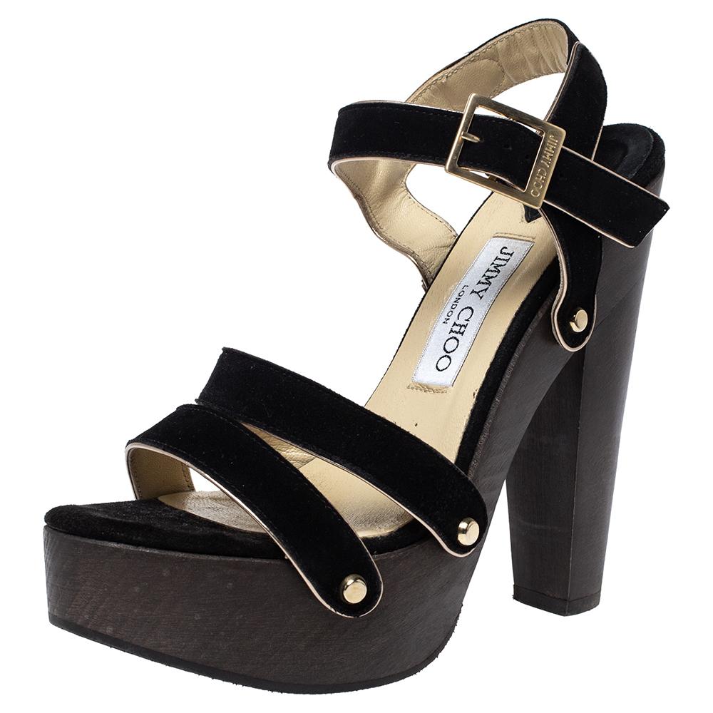 Jimmy Choo Black Suede Wooden Platform Ankle Strap Sandals Size 38