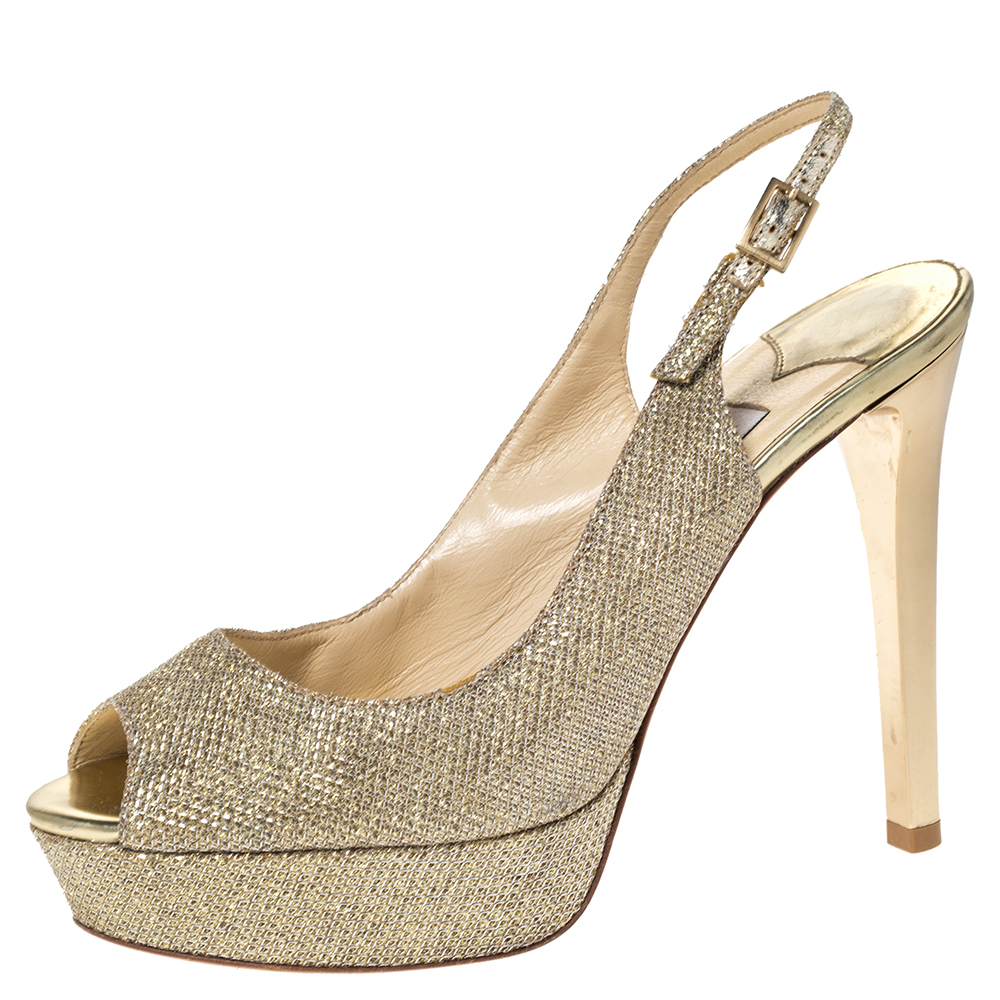 Jimmy Choo Metallic Gold Glitter Fabric Verity Peep Toe Platform Slingback Sandals Size 35