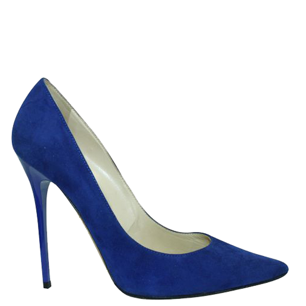 Pre-owned Jimmy Choo Blue Suede Anouk Pumps