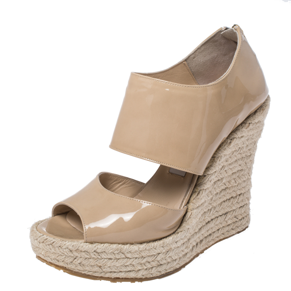 Pre-owned Jimmy Choo Beige Patent Patriot Espadrille Wedge Cut Out Booties Size 38.5