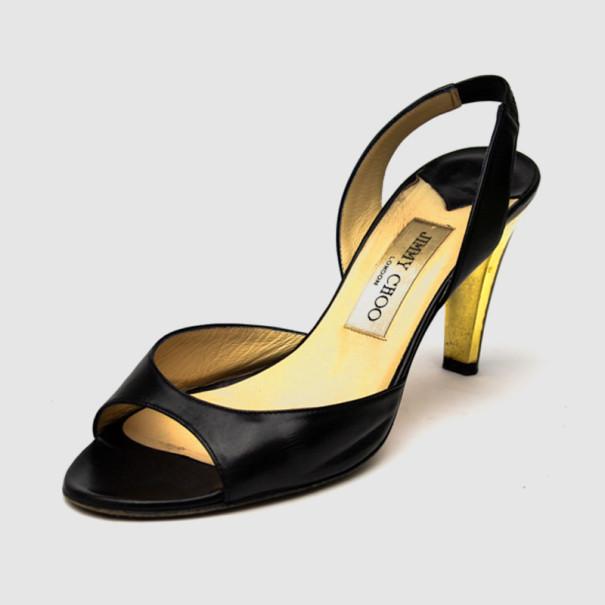 Jimmy Choo Black Leather Open Toe Slingback Sandals Size 38