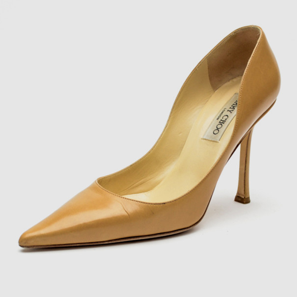 Jimmy Choo Nude Leather 'Empire' Pointed Toe Pumps Size 39