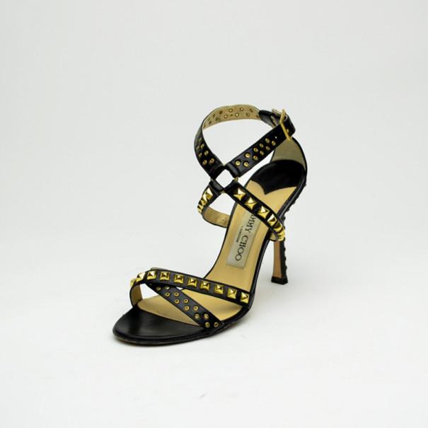 a64c7cb4f30 Buy Jimmy Choo Black Leather Studded  Inga  Strappy Sandals Size 36 ...