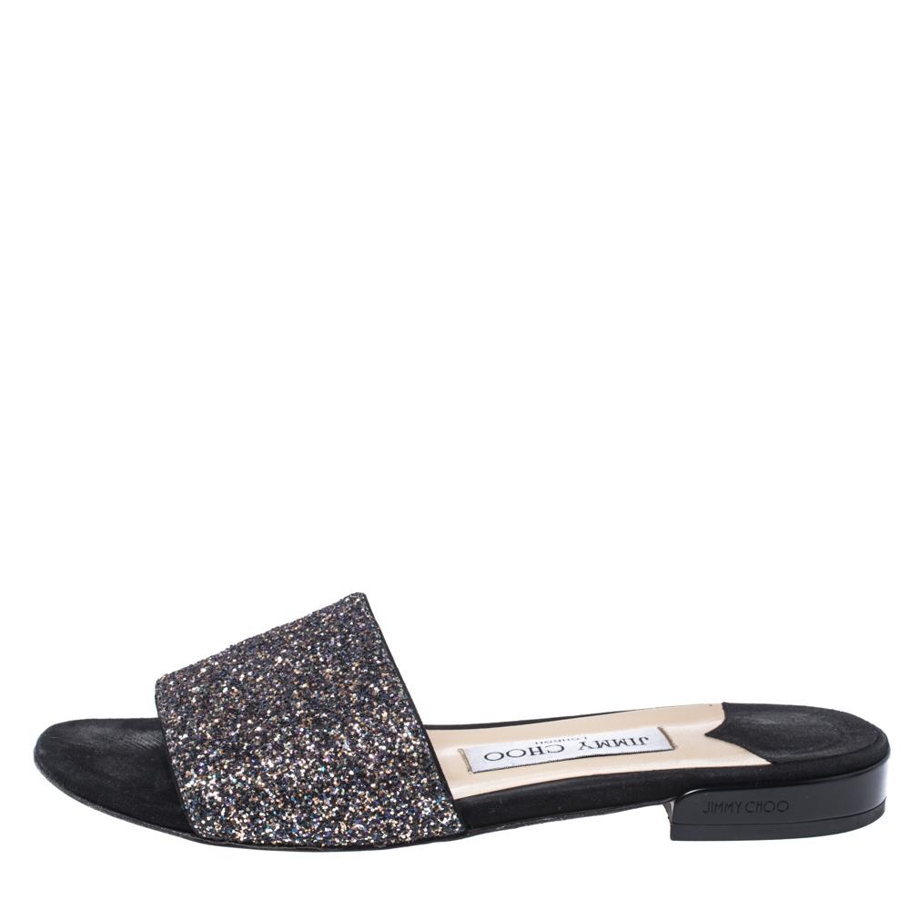 Jimmy Choo Black Twilight Glitter Fabric Joni Slide Flats Size 36