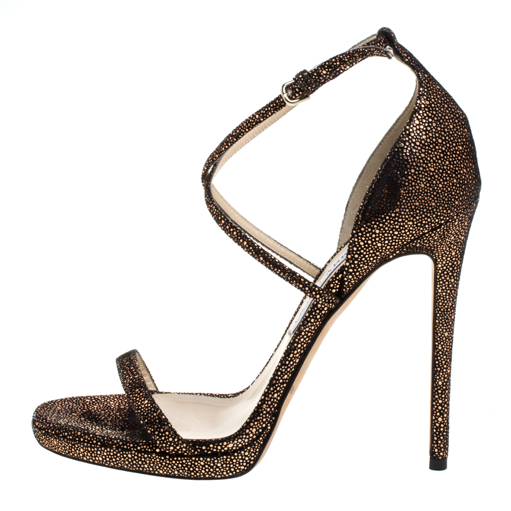 Jimmy Choo Metallic Brown/Black Textured Suede Leather Ankle Strap Sandals Size 39  - buy with discount